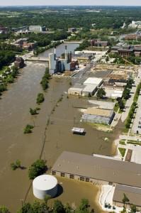 Aerial shot of UI campus during 2008 flood