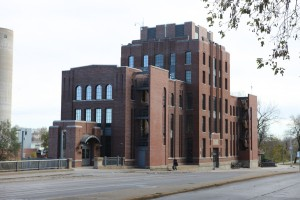 The C. Maxwell Stanley Hydraulics Laboratory as seen across Riverside Drive.