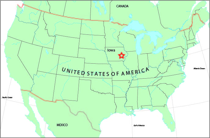 IIHR is located in Iowa City, Iowa, near the center of the United States.