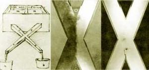Leonardo da Vinci sketch and Macagno experiment.