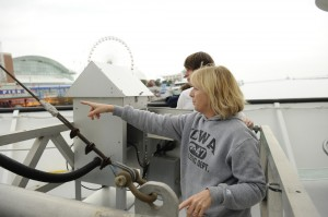 IIHR Research Engineer Keri Hornbuckle prepares for a research cruise on Lake Michigan; Navy Pier is visible in the background.
