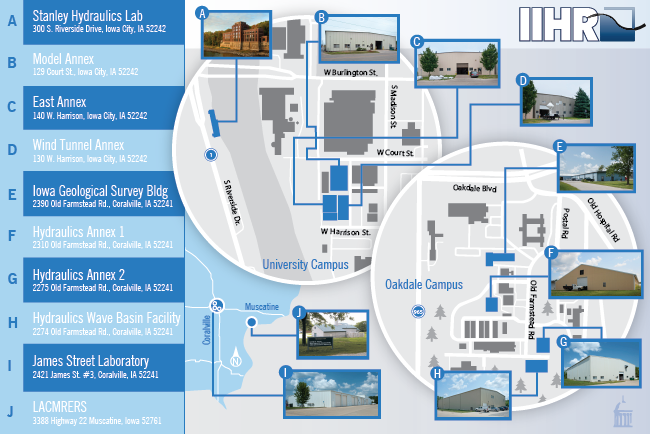 IIHR's 10 facilities in Iowa City and Coralville provide space for offices, classrooms, research, and shop support.