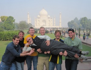 IIHR Research Engineer Marian Muste relaxes in front of the Taj Mahal with a little help from his friends: (l to r) Logan Hildebrant, David Koser, Nathan Chase, Nick Thomas, Ben Reith, and Sean Plenner.
