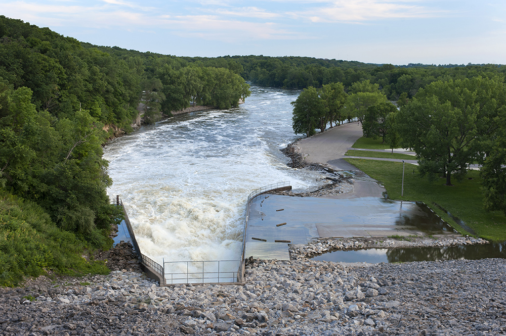 In July 2014, floodwaters once again threatened to overtop the Coralville Dam.