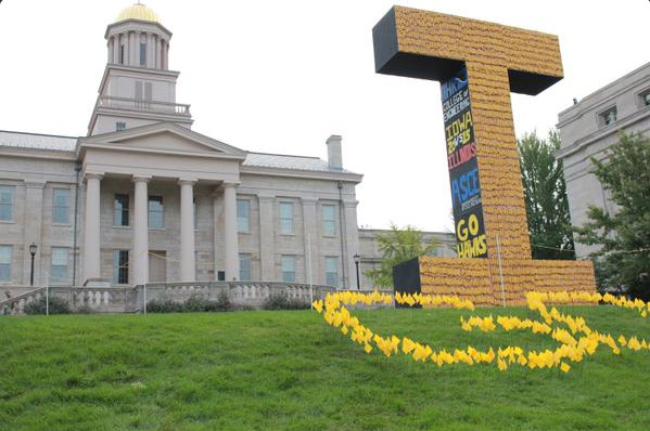 The 2015 corn monument presides over Homecoming festivities on the UI campus.