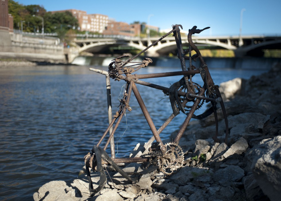 An old, rusted bike collected during the 2013 clean-up.