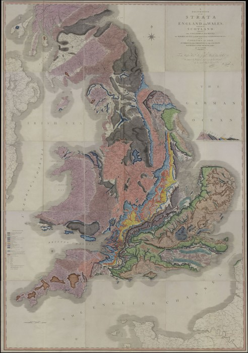 A digital copy of William Smith's Geological Map of England and Wales and Part of Scotland.