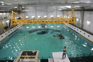 CalWave is one of several organizations testing wave energy technologies at the IIHR Wave Basin. The teams are competing for a U.S. Department of Energy prize; IIHR has been selected as one of five sites nationwide to serve as a test facility.