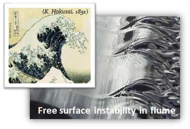 Free-surface instability in flume.