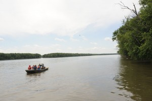 Students and researchers on the river.