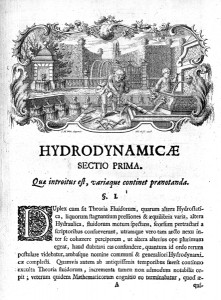 Title page from Daniel Bernoulli's Hydrodynamica.