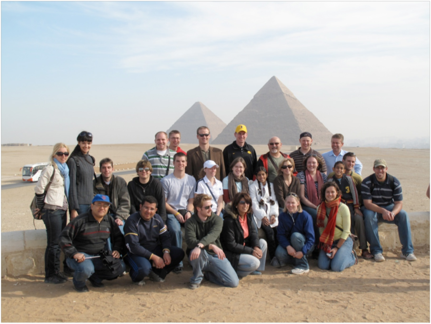 Group photo from the 2009 international perspective trip to Egypt.