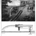 Mechanism for dragging a boat uphill and returning it to the canal (Treatise on the Improvement of Canal Navigation).