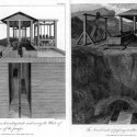 Mechanism for lifting a boat vertically up a break in the landscape, to a higher canal (Treatise on the Improvement of Canal Navigation).