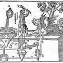 When the human figure is turned toward the dragon, a valve between the two sealed chambers under the figure closes. However, if the human figure is rotated to the side, the valve connecting the two chambers opens, water flows from the top to the bottom chamber, and suction is created in the pipe leading from the upper chamber to the dragon's mouth. Because of this suction, the dragon appears to drink if a cup of water is held up to its mouth. (Buch von Lufft-Und Wasser-Kunsten)
