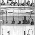 Pascal's experimental equipment demonstrating the principles of hydrostatic pressure (Traitez de l'Equilibre des Liqueurs et de la Pesanteur de la Masse de l'Air).