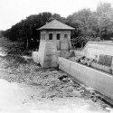 The University's original Hydraulics Lab, which opened in 1920, was a mere 22-by-22-foot box perched above a flume (see channel on right) fed by the Iowa River.