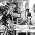 IIHR's original ship-model towing tank (shown here in 1992), in the basement of Stanley Hydraulics Lab, is still in use today. In 2010, it was joined by an even larger wave basin for testing water's flow around free-moving ship models.