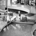 IIHR obtained its first computer in 1967 (a bulky IBM 1801, upper left), and a few years later applied it to small-scale-model research that plotted water's flow and alluvial bed conditions in the Missouri River—a project that until then would have been unimaginable.