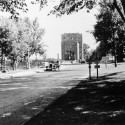 The original small Hydraulics Lab was replaced in 1928 by a larger multistoried structure, which was expanded in 1932 and is seen here in the 1930s from Riverside Drive to the north.
