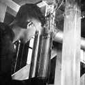 Since the 1920s, IIHR researchers have studied the flow of water in pipes. This early student was observing falling water—a subject still addressed today in IIHR's designs of dropshafts for city storm sewers.