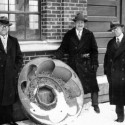 Floyd Nagler (center) was an active proponent of Iowa's water power. When out in the field, he sought discarded turbines, which he brought to the Hydraulics Lab to display for students.