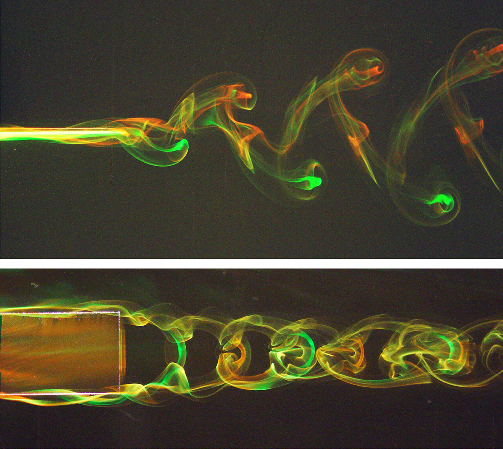The wake of an oscillating fin revealed using dye visualization.