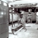 Hunter Rouse initiated Iowa's first formal fluid-mechanics teaching laboratories, designing and installing equipment (such as this 1941 flume) that taught basic principles while simultaneously demonstrating their applications.