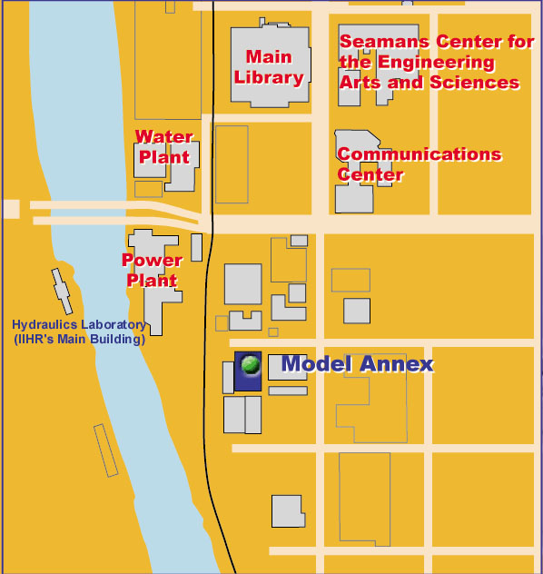 Map of Southwest UI campus with the Wind Tunnel Annex highlighted.