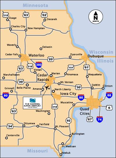 Map of eastern Iowa.