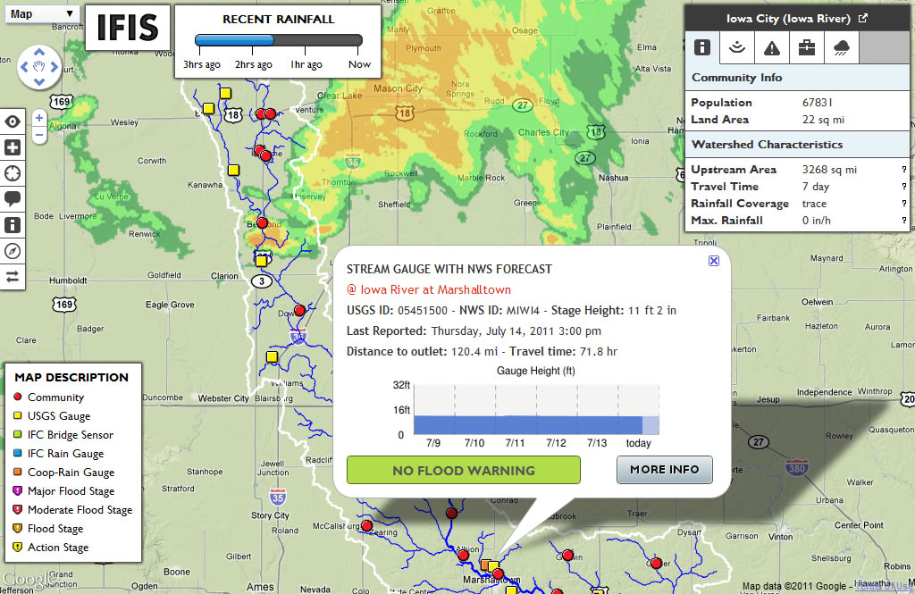 A sample map from the Iowa Flood Information System.