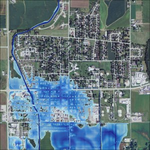 A preliminary floodplain map of Kalona, Iowa, (not yet approved by FEMA) prepared by research engineers and students at the Iowa Flood Center.