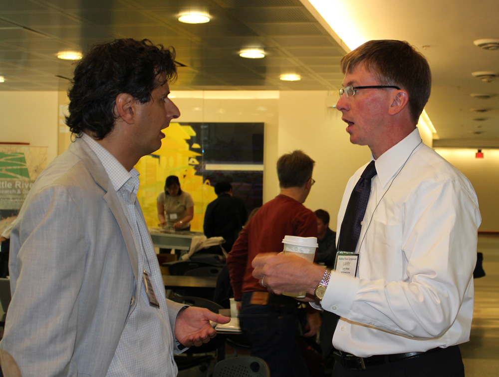 Conference chair George Constantinescu discusses the upcoming conference with IIHR Director Larry Weber.