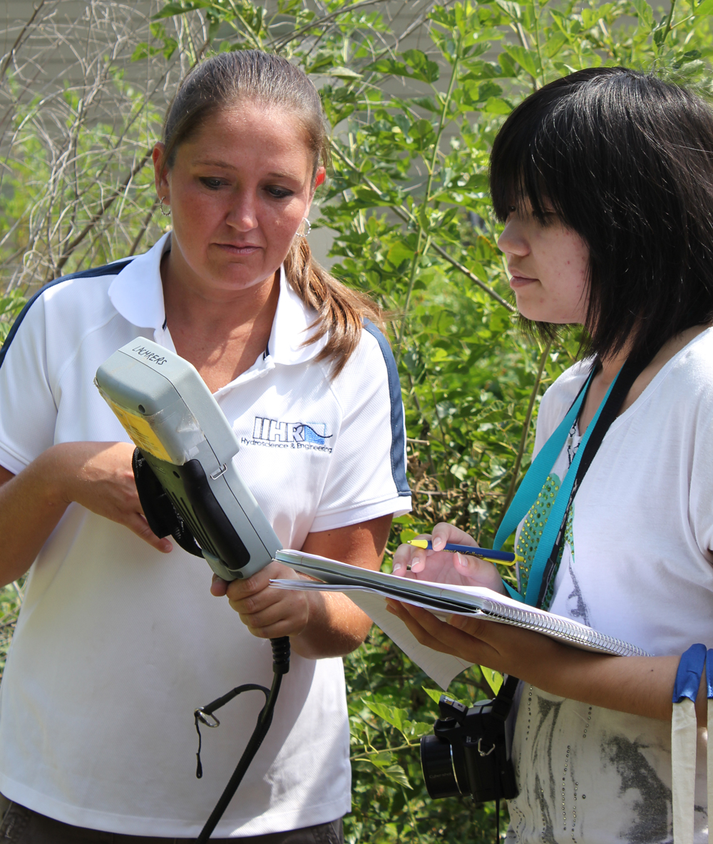 IIHR Postdoctoral Associate Carrie Davis shows visiting Chinese students instruments used to test water quality.