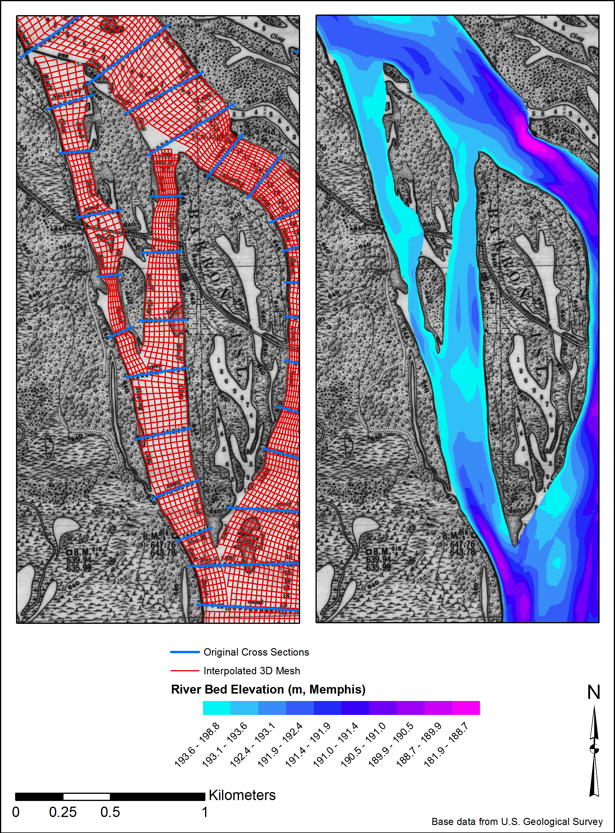Stafne took cross sections of the bed surface and interpolated them into a digital surface using a tool developed by a researcher at Purdue University. They are overlaid over the historic map from the 1890s.