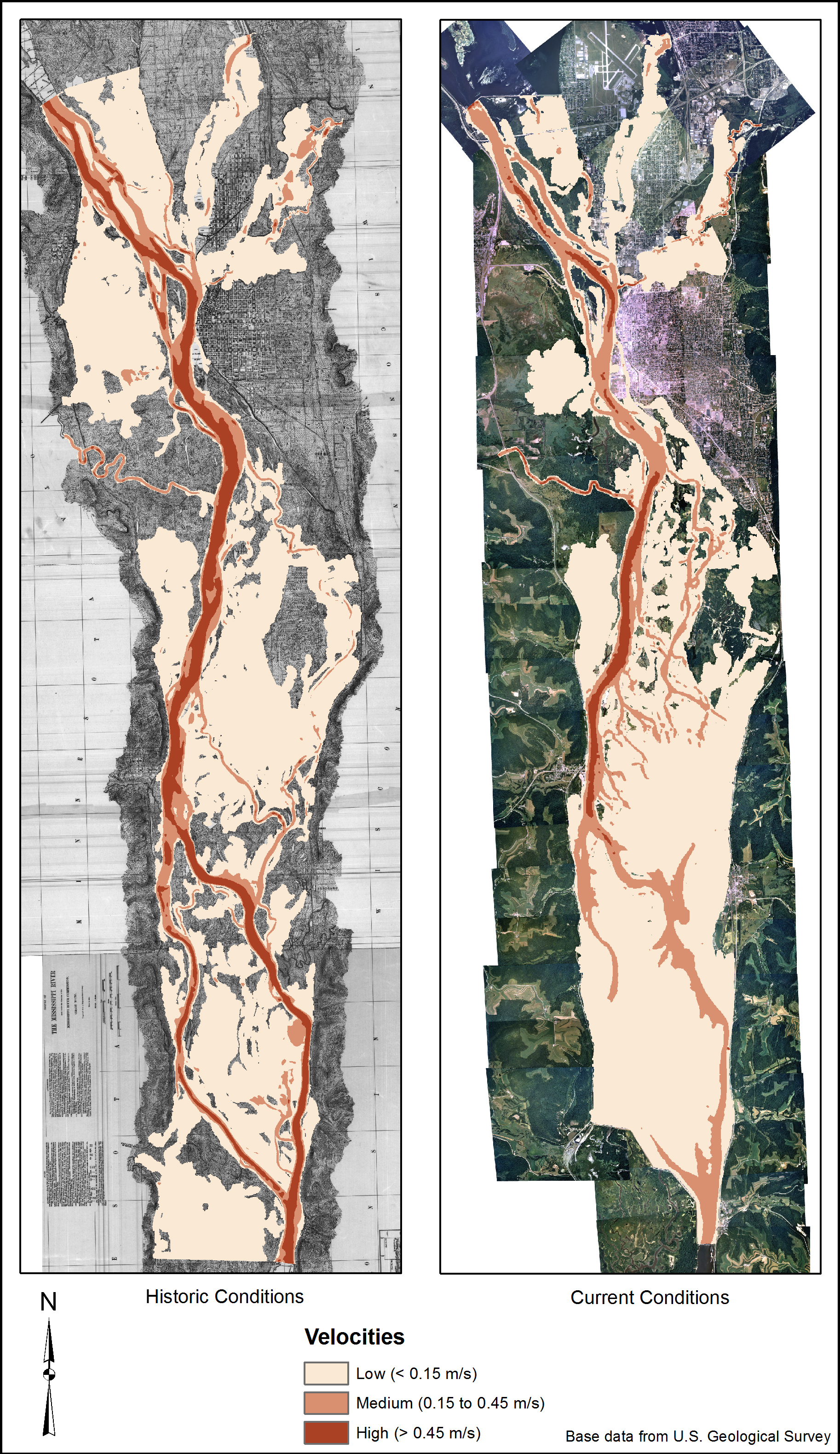 """A comparison of velocities output from the model for current and historic conditions. Near the bottom note the """"lower pool"""" area, which is the most changed by the construction of the locks and dams."""