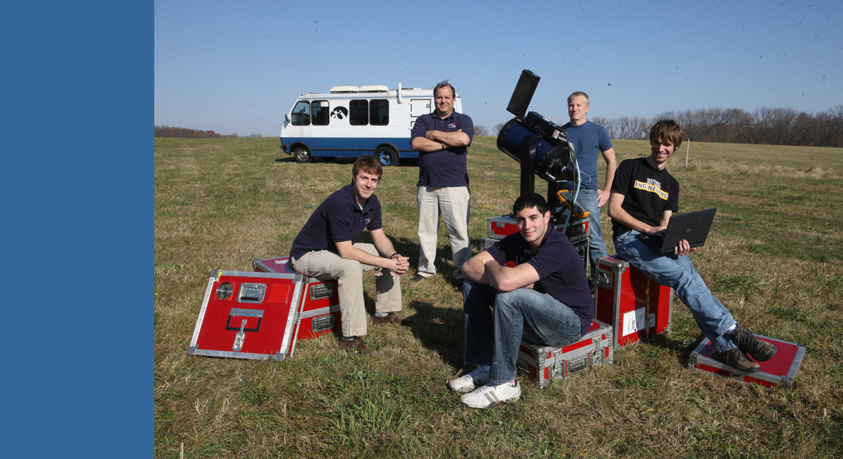 IIHR Research Engineer Bill Eichinger (center, back) with student members of his LiDAR research team.