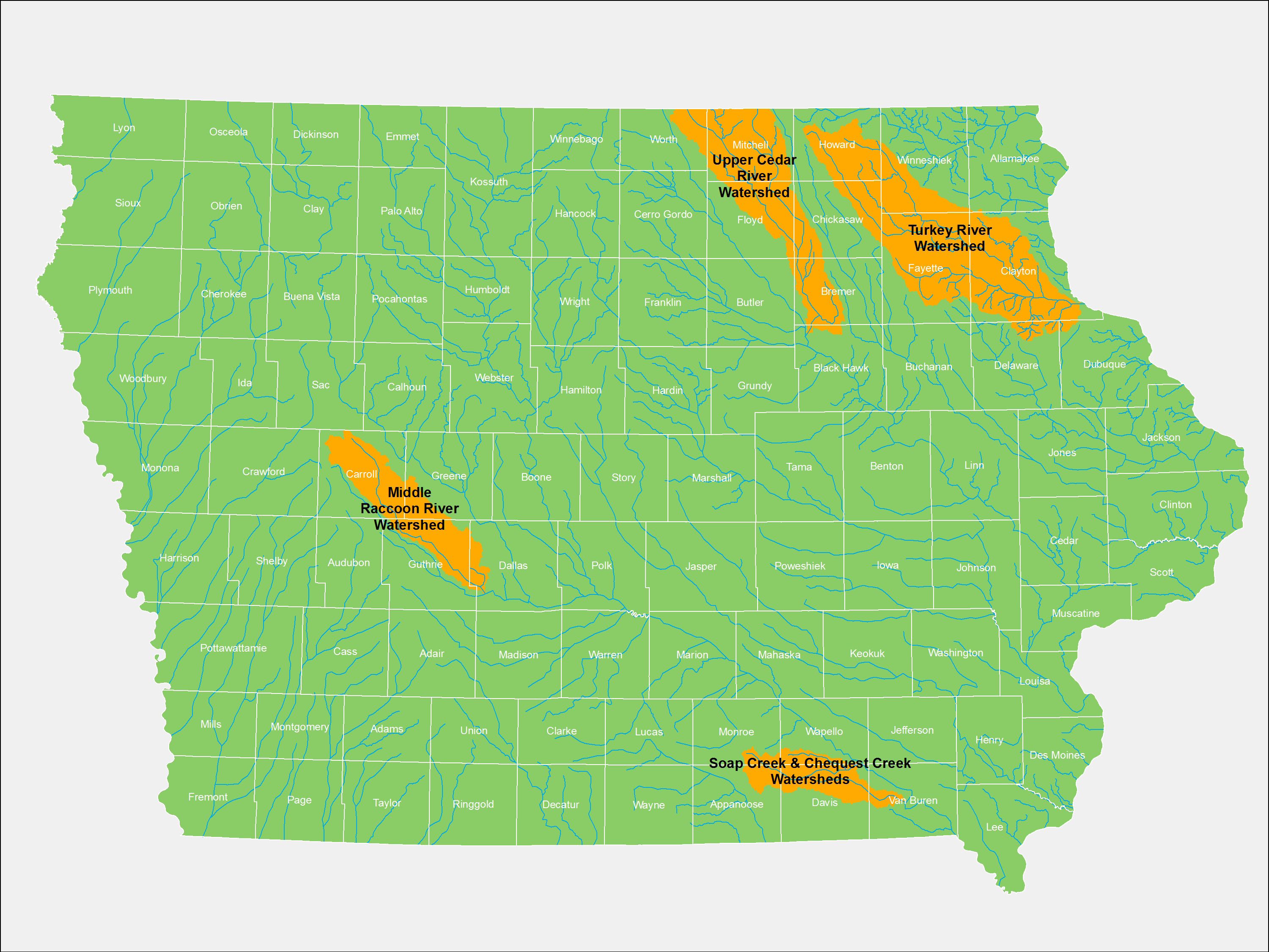 Four watersheds were chosen for the Iowa Watersheds Project.