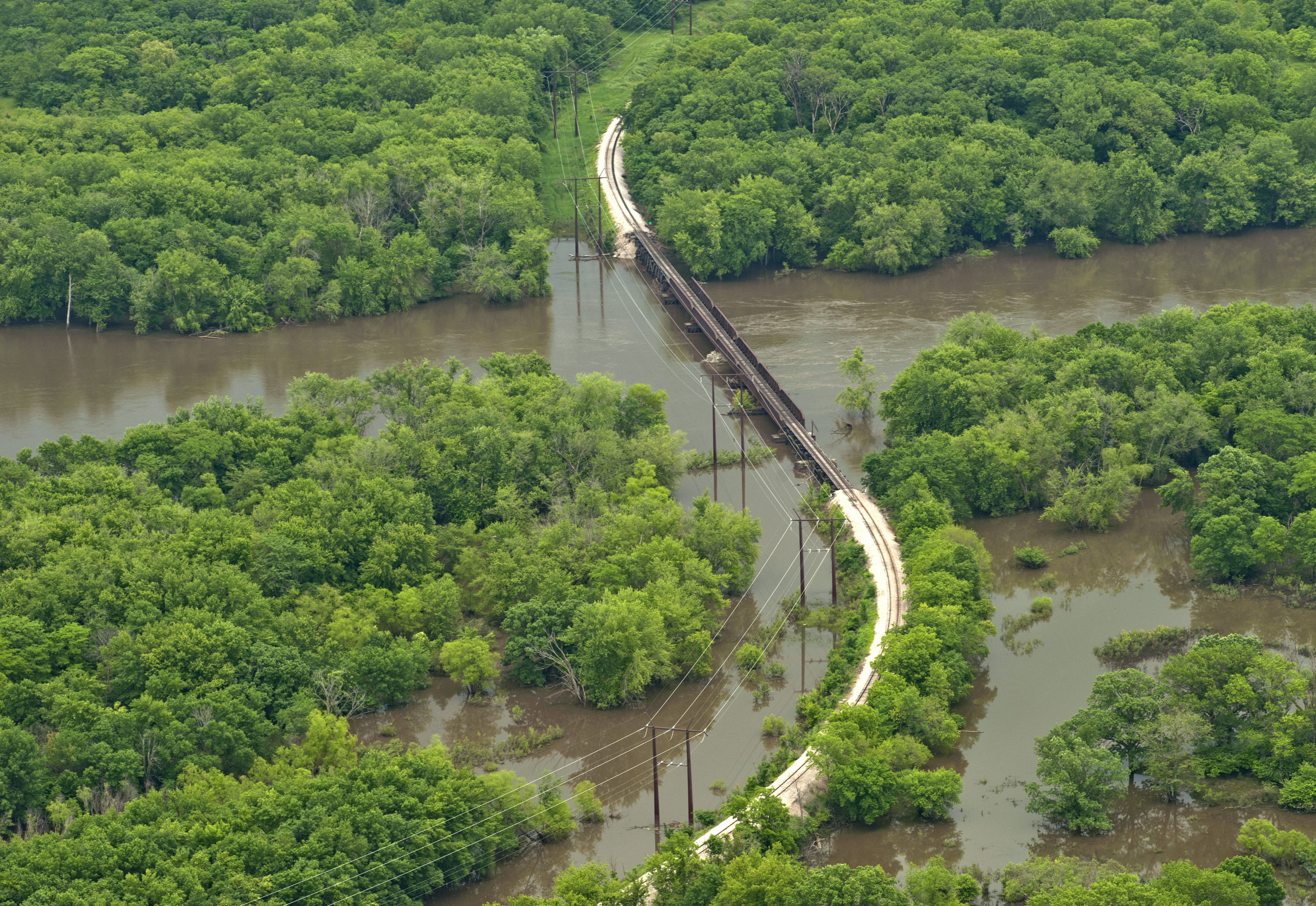 Aerial view of Eastern Iowa flooding 2013.