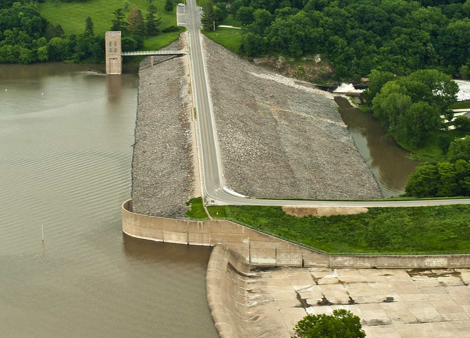 Flooding around the Coralville Dam.