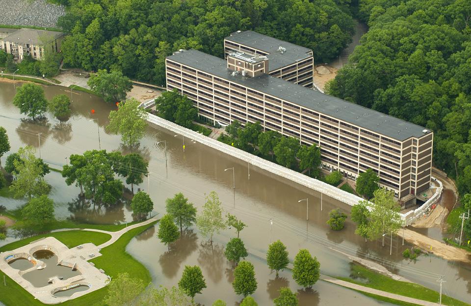 Flooding around Mayflower Residence Hall.