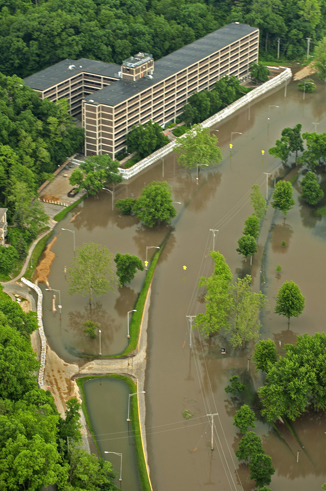 An aerial view of floodwaters that covered Dubuque Street and threatened Mayflower Residence Hall.