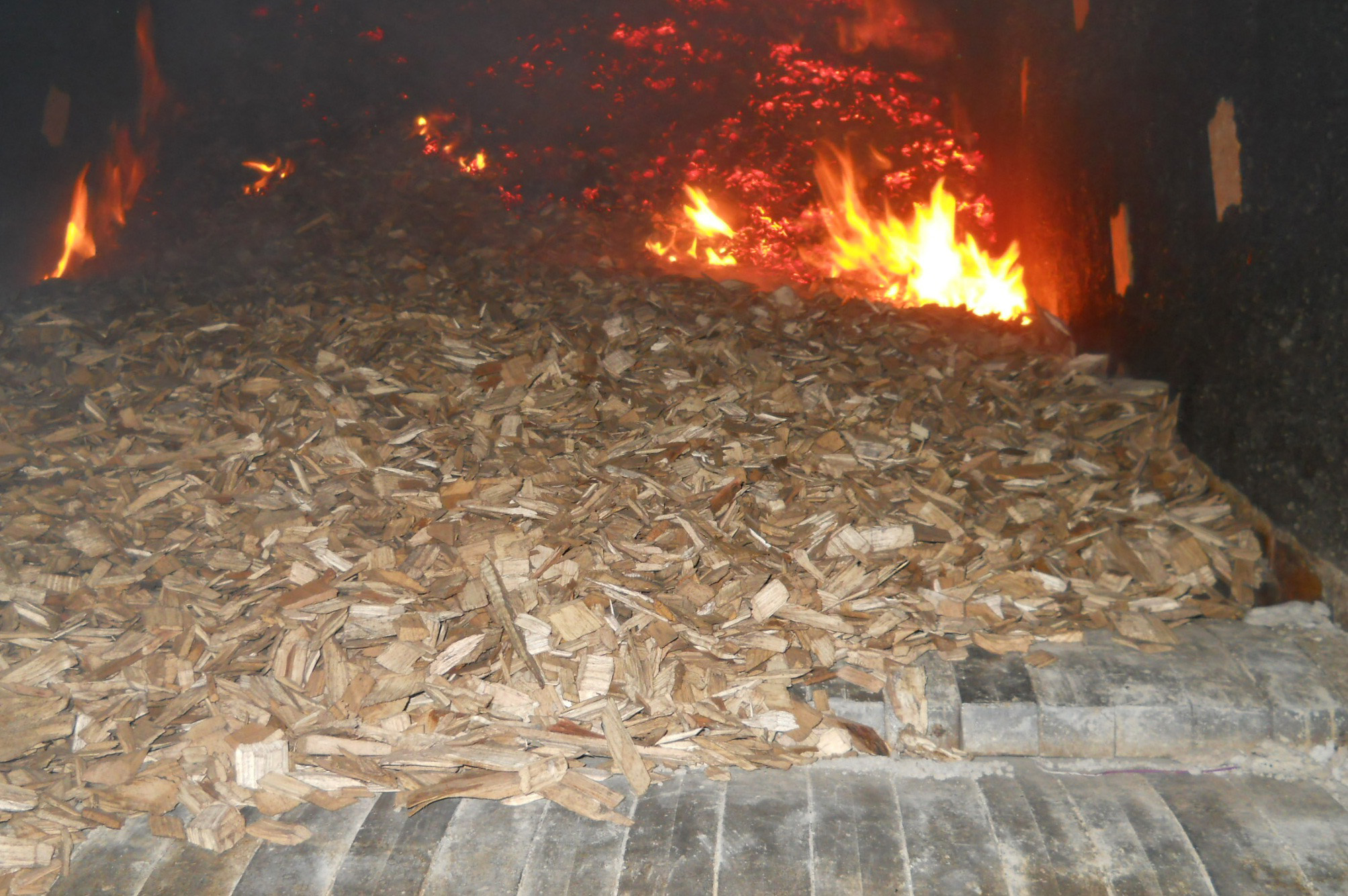The first fire, a wood chip test burn, at the Oakdale biomass boiler.