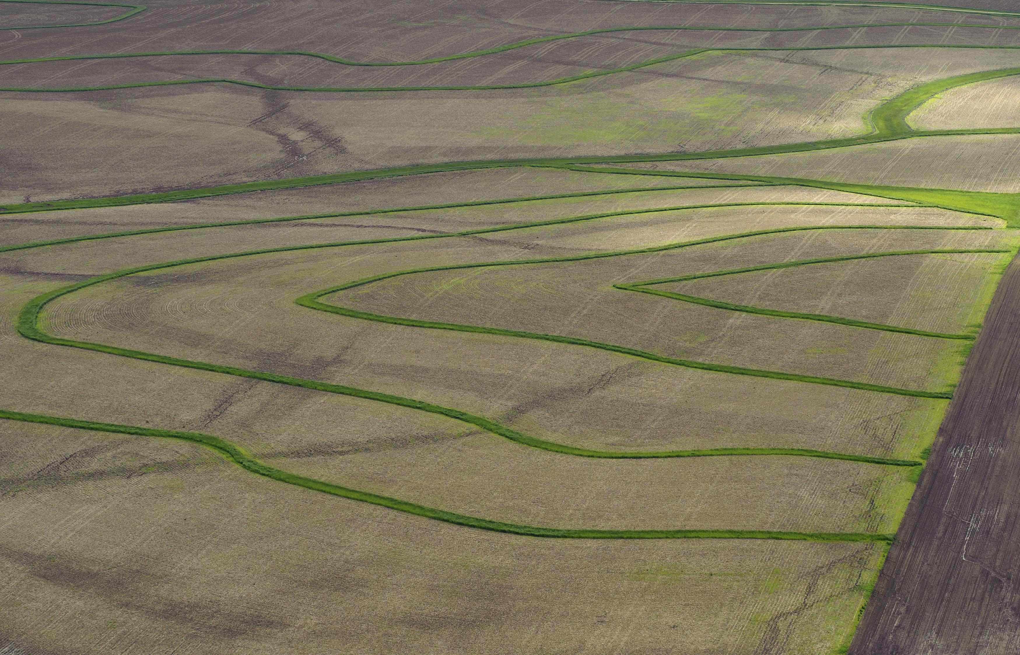 Ripple like patterns on farm land.
