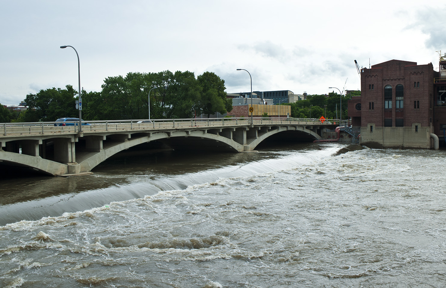The water's power is evident and impressive at the Burlington Street dam near Stanley Hydraulic Lab.