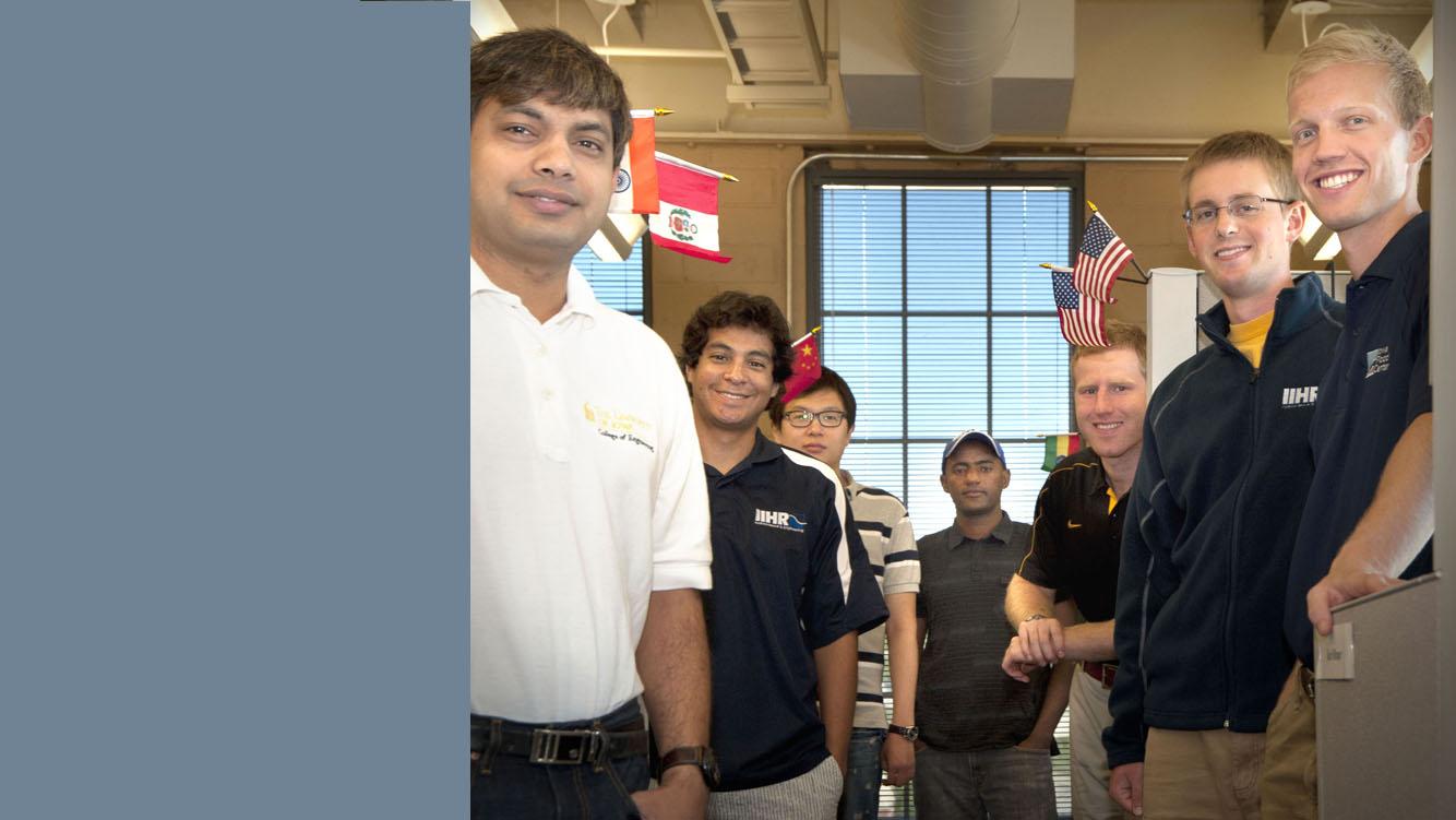 IIHR students (l to r): Kumar Vijay Mishra (India), Daniel Horna Munoz (Peru), Zhengyang Cheng (China), Tibebu Ayalew (Ethiopia), Steve Browne (USA), Karl Brauer (USA), and Nicholas Thomas (USA).