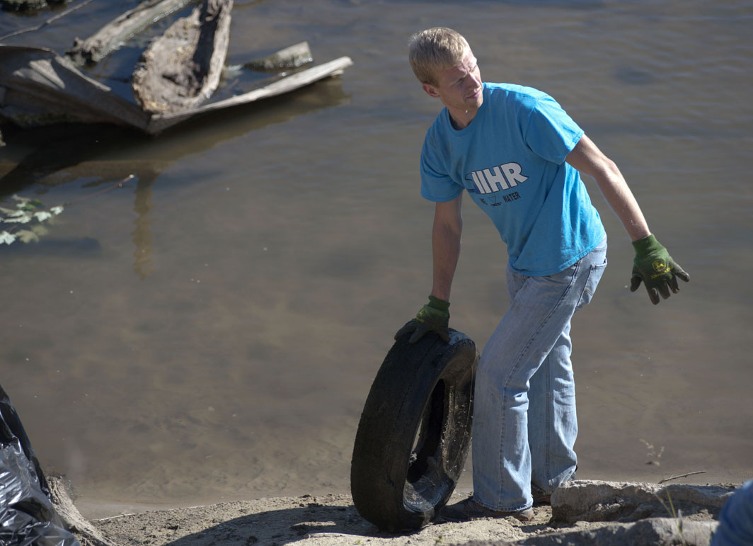 Tires are another common item found in the river.