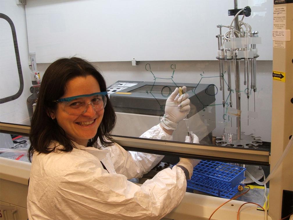 Rachel Marek at work in the lab.