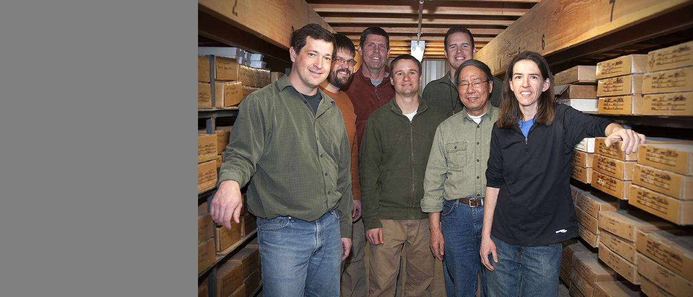 Members of the IGS team surrounded by group's library of geological specimens from across the state. Pictured, left to right: Rick Langel, Matthew Streeter, Mike Gannon, Jason Vogelgesang, Ryan Clark, Huaibao Liu, and Stephanie Surine. Not pictured, Keith Schilling.