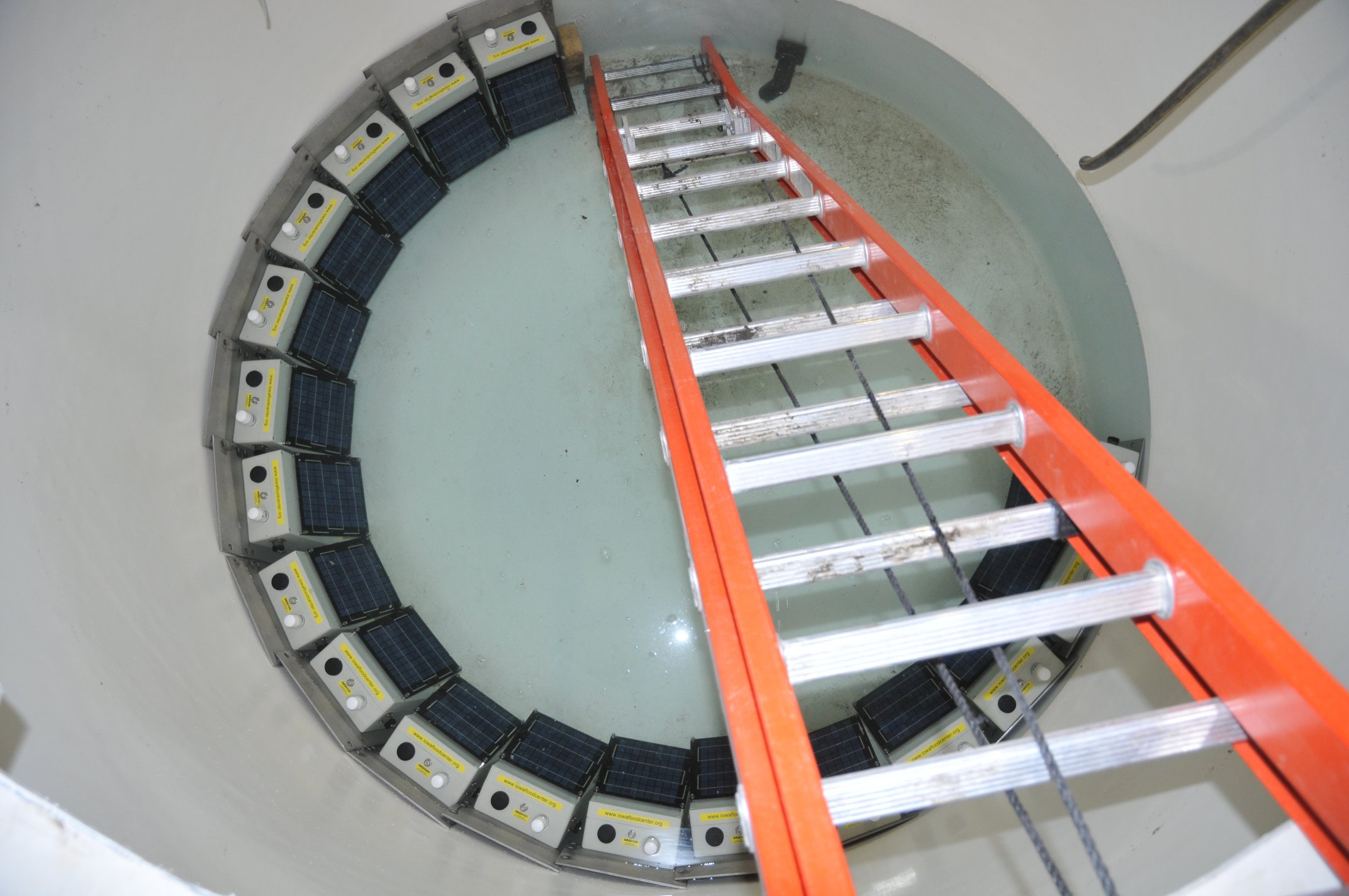 stream-stage sensors being underwater tested